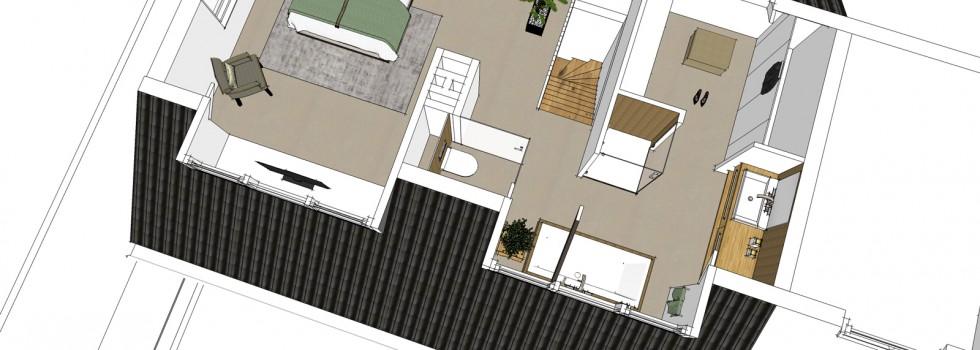 Amstelveen Hoekwoning Interieur Verbouwing Zolderverdieping 03 Plattegrond 3d Nieuw 2018