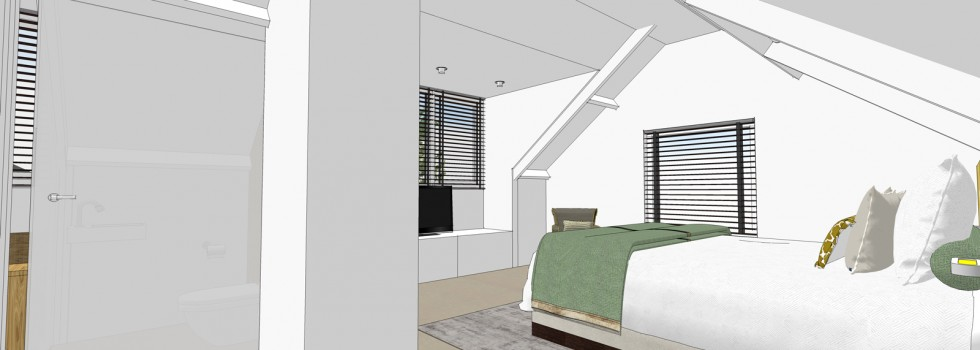 Amstelveen Hoekwoning Interieur Verbouwing Zolderverdieping 06 Slaapkamer 3d Nieuw 2018