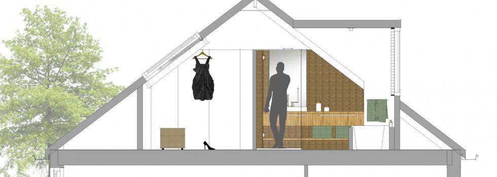 Amstelveen Hoekwoning Interieur Verbouwing Zolderverdieping 12 Doorsnede Badkamer Nieuw 2018